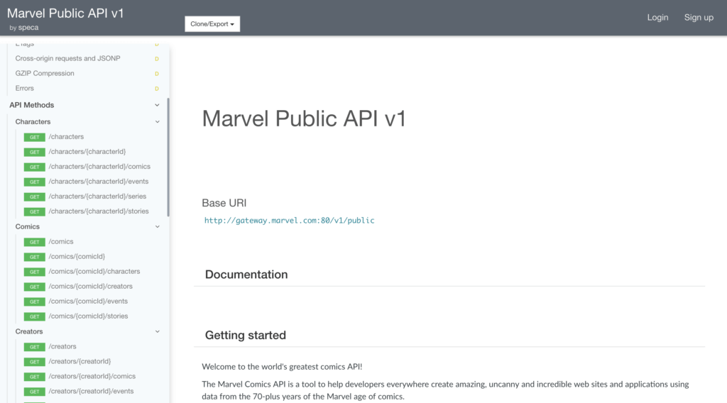 Speca Marvel API Documentation